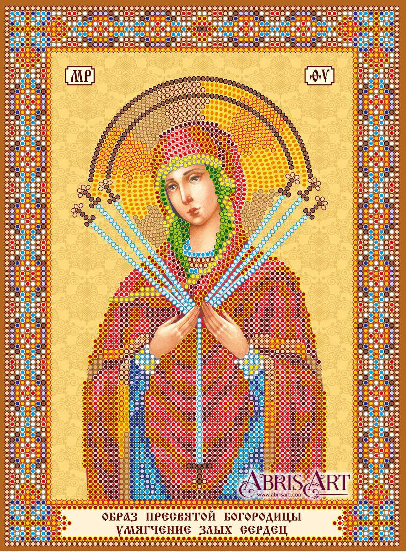 Схема для вышивки иконы бисером на натуральном художественном холсте Икона  Богородицы «Семистрельная» 516cc7fc8af0b